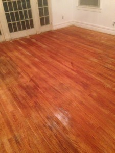 "Floor immediately following ""popping"" the wood!"
